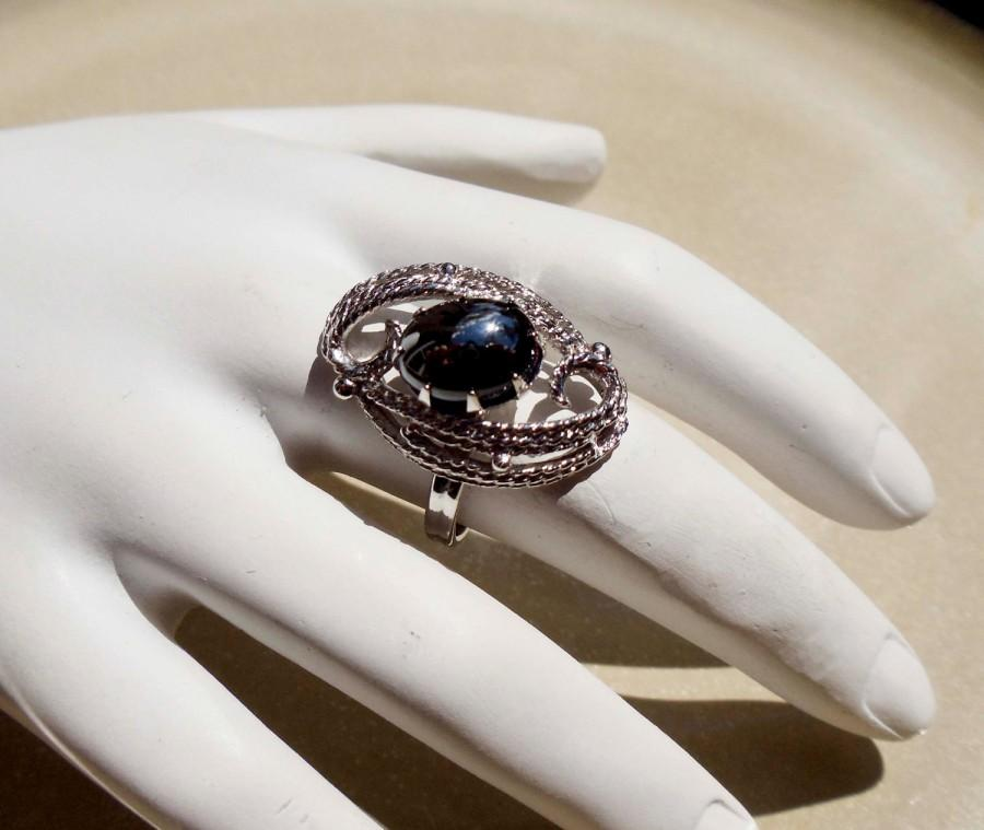 Wedding - Vintage Sarah Coventry Silver Malachite stone Ring adjustable band