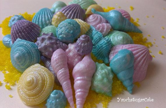 Mariage - Edible fondant seashells 50 or 100 pcs Wedding shower Summer sea decorations Mermaid Baby shower Under the sea Nemo cake topper Cupcake