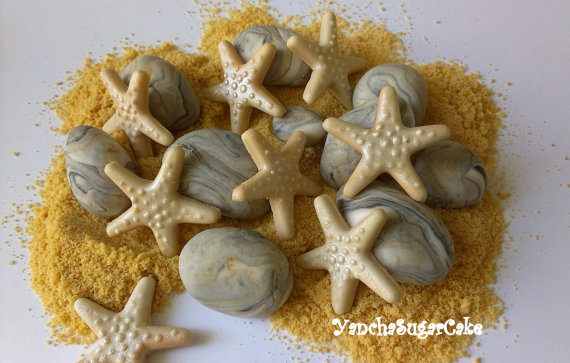 Mariage - Edible fondant seashells Starfish Baby shower Sea pebbles Under the sea Mermaid Cake gumpaste topper Cupcake topper Wedding Bridal shower