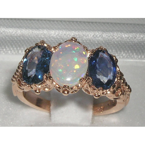 Wedding - 9K Rose Gold Genuine Fiery White Opal & Light Blue Sapphire Engagement Ring, English Victorian Style Trilogy Stackable Ring - Customizable