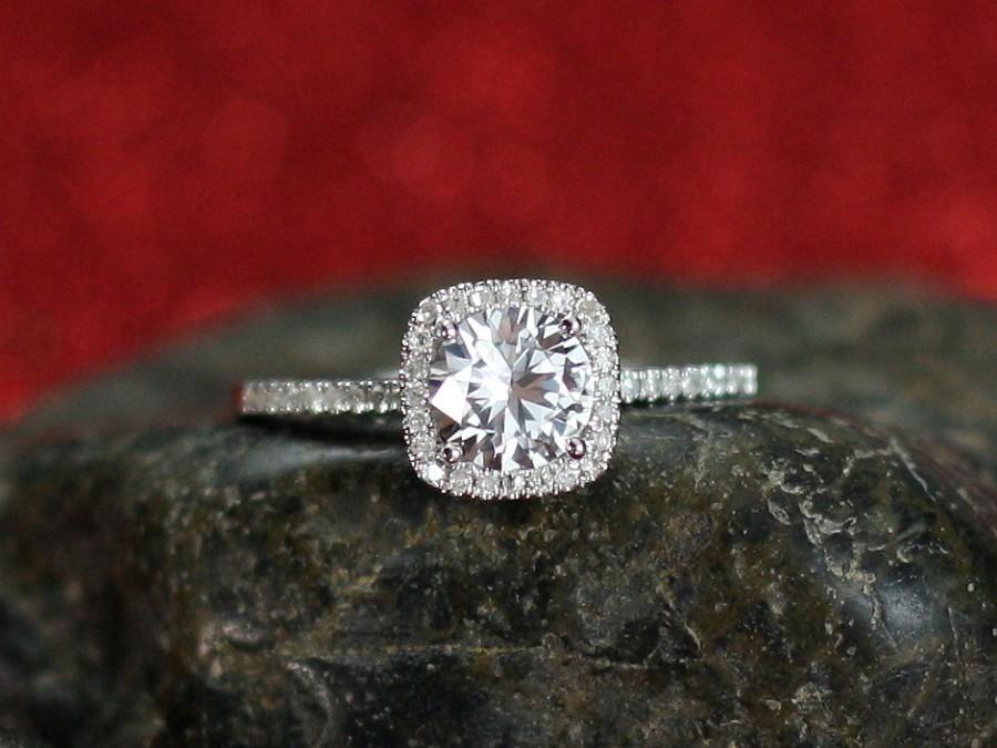 Wedding - White Sapphire Engagement Ring Cushion Halo Diamond Cuscino Petite 1ct 6mm Round Custom Size White-Yellow-Rose Gold-10k-14k-18k-Platinum