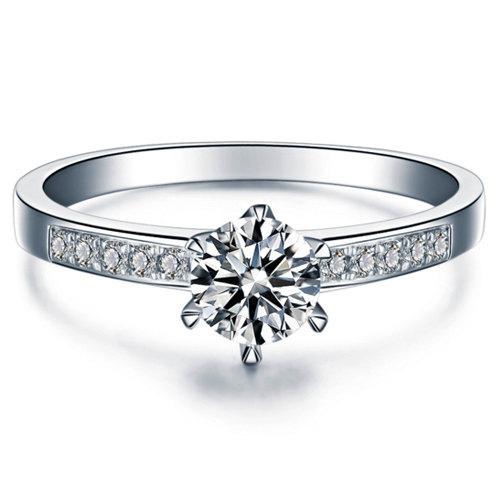 Wedding - Round Cut Diamond Engagement Ring 14k White Gold or Yellow Gold Art Deco Natural Diamond Ring