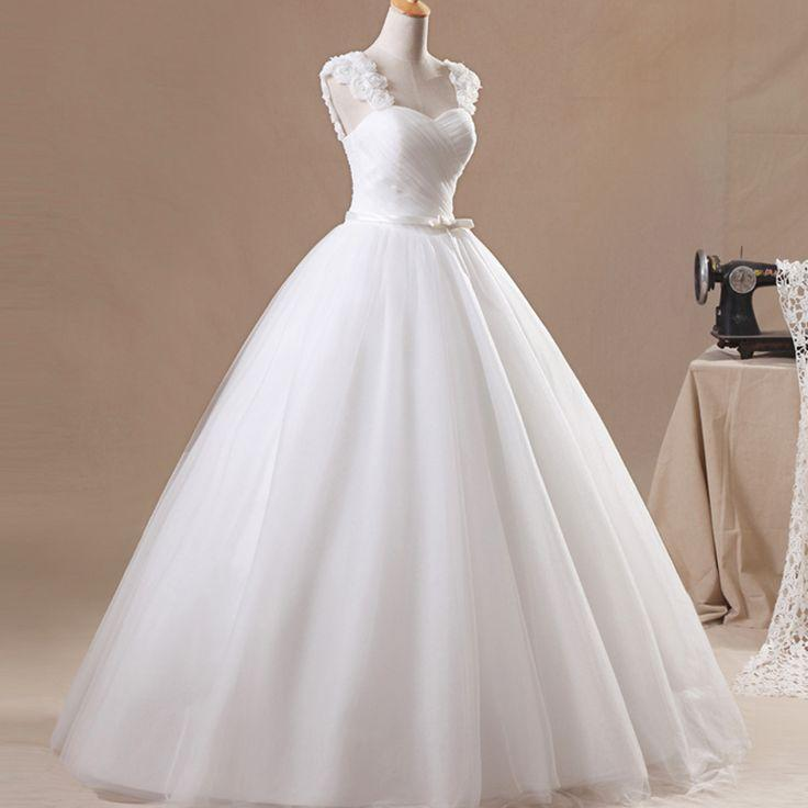 Wedding - Elegant White Princess V-Neck Flower Wedding Dress