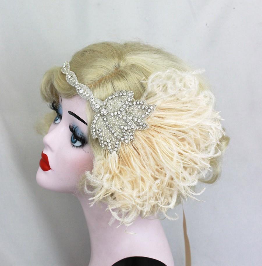 Свадьба - Bridal Head Piece - 1920's Flapper - Great Gatsby Wedding Headpiece - Ivory Feather Fascinator - Crystal Headband - Silver Hair Accessory
