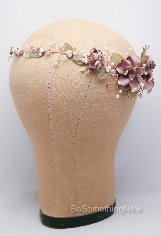 Wedding accessories pearls flowers pearls - Rose Gold Floral Hair Vine Of Wired Flowers Pearls And Leaves Beaded Woodland Wedding Hair Halo Flower Crown Boho Wedding Bridal Hair Wreath