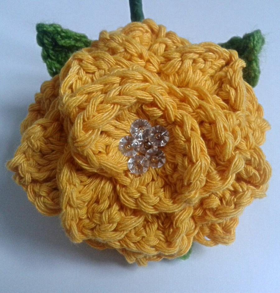 Mariage - Crochet Yellow Flower Wedding Buttonhole