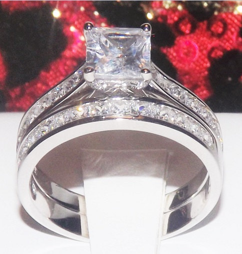 Eternity Ring Wedding Set: 3.6ct Princess Cut Wedding Ring Set Engagement Ring