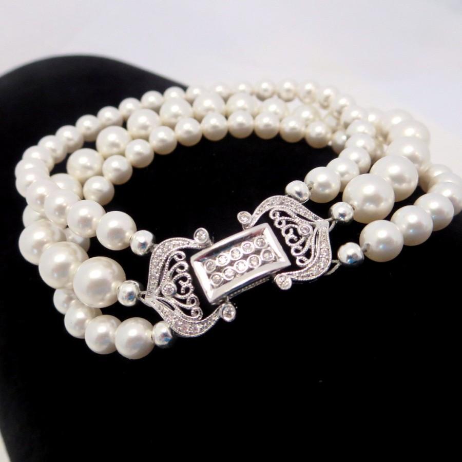 Wedding - Bridal cuff bracelet, Pearl bracelet, Wedding jewelry, Bridal bracelet, Swarovski pearl bracelet, Cubic zirconia bracelet, Vintage style