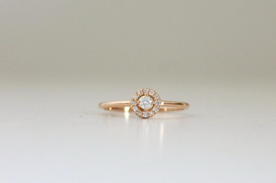 Wedding - Halo engagement ring,Solitaire diamond ring,14k gold ring,Anniversary ring,Conflict free diamond,Round diamond ring,Diamond,Rose gold ring