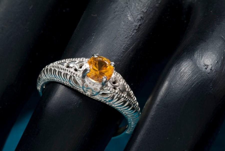 Wedding - Yellow Sapphire Antique Filigree  Ring with Heart Motif