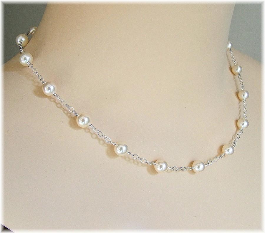 Wedding - Cream Swarovski Pearl Tin Cup Necklace, Delicate Bridal Necklaces, Pearl Necklace Floating Pearls Necklace, Weddings