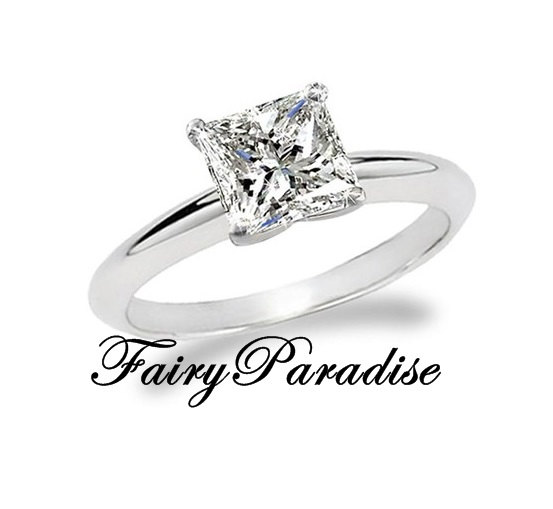 Mariage - 2 Ct (8 mm)  Princess Cut Man Made Diamond Solitaire Engagement Ring, Split Prong, Man Made Diamond Promise Rings for her (FairyParadise)