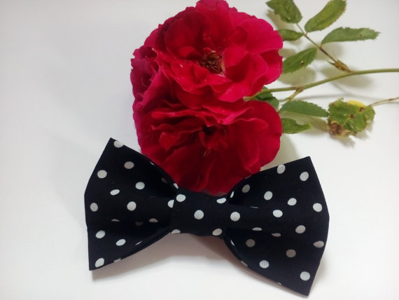 Hochzeit - black bow tie small white polka dot bowtie bowties father son for boys petit blanc à pois noeud papillon pequeña pajarita de lunares blanco