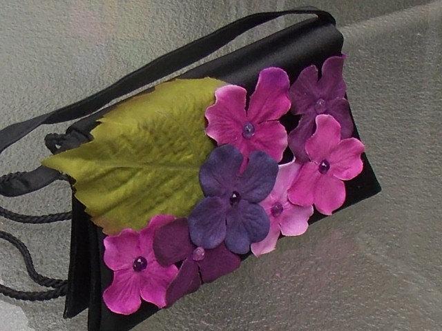 Mariage - Recycled Black Purse with Purple Hydrangea Flowers, Floral Handbag, Bridal Handbag, Floral Purse, Fairy Bag, Festival Bag with Flowers
