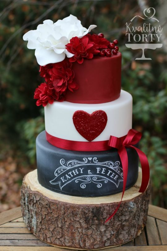 Wedding Theme Red And Chalkboard Wedding Cake 2551256 Weddbook