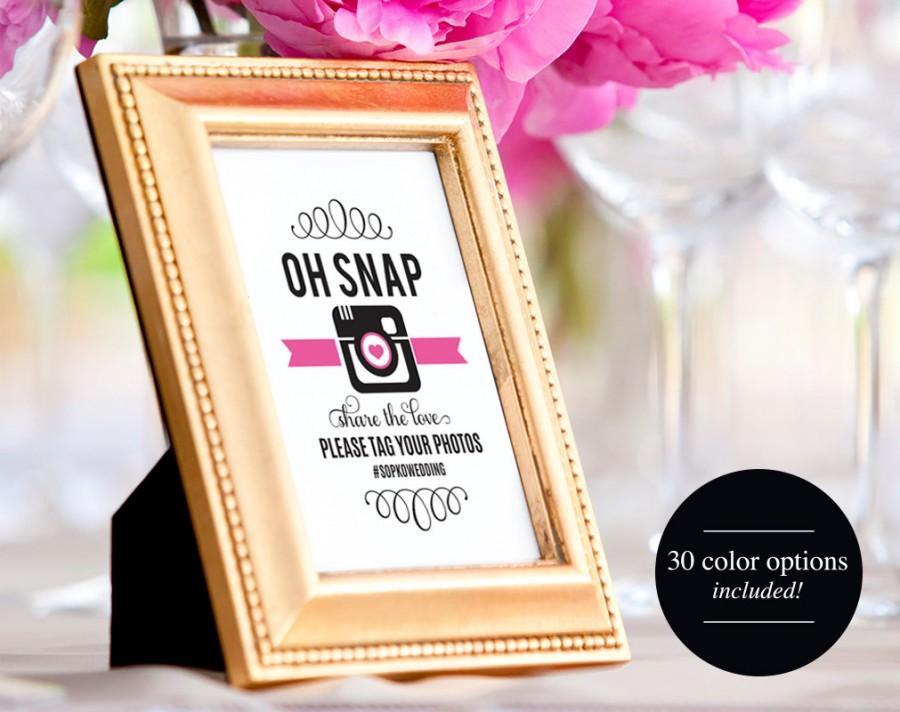 Hochzeit - Wedding Hashtag Sign, Oh Snap Wedding Sign, Wedding Reception Sign, Wedding Printable, Template, PDF Instant Download