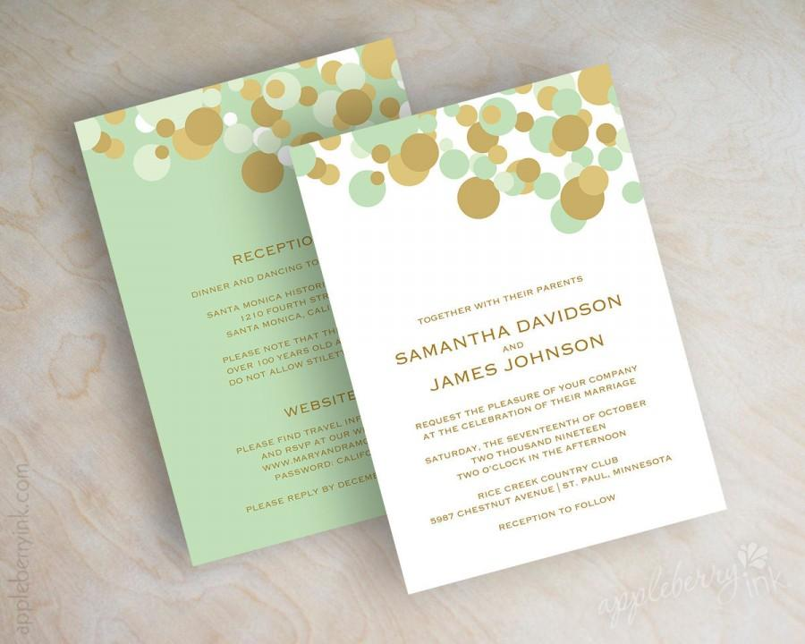 mint green and gold polka dot wedding invitations, wedding,