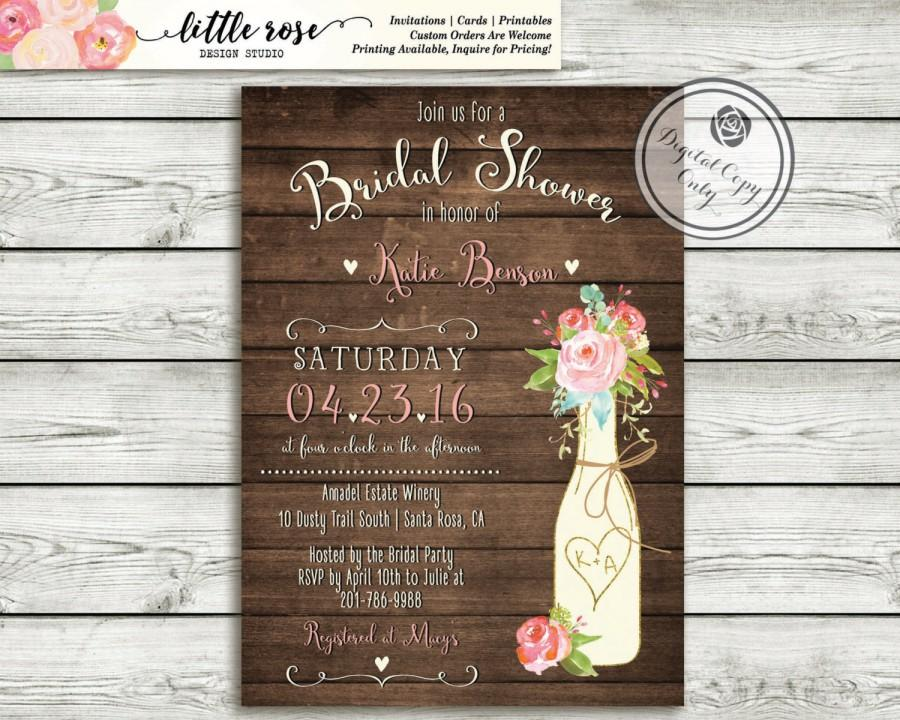 Hochzeit - Rustic Bridal Shower Invitation - Couples Wedding Shower - Vineyard/Winery Shower -Wood Invite Roses - Printable - LR1055