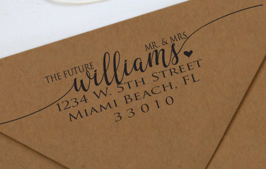 Hochzeit - The Future Mr & Mrs. Address Stamp, Wedding Stamp, Rubber Stamp, Personalized Rubber Stamp