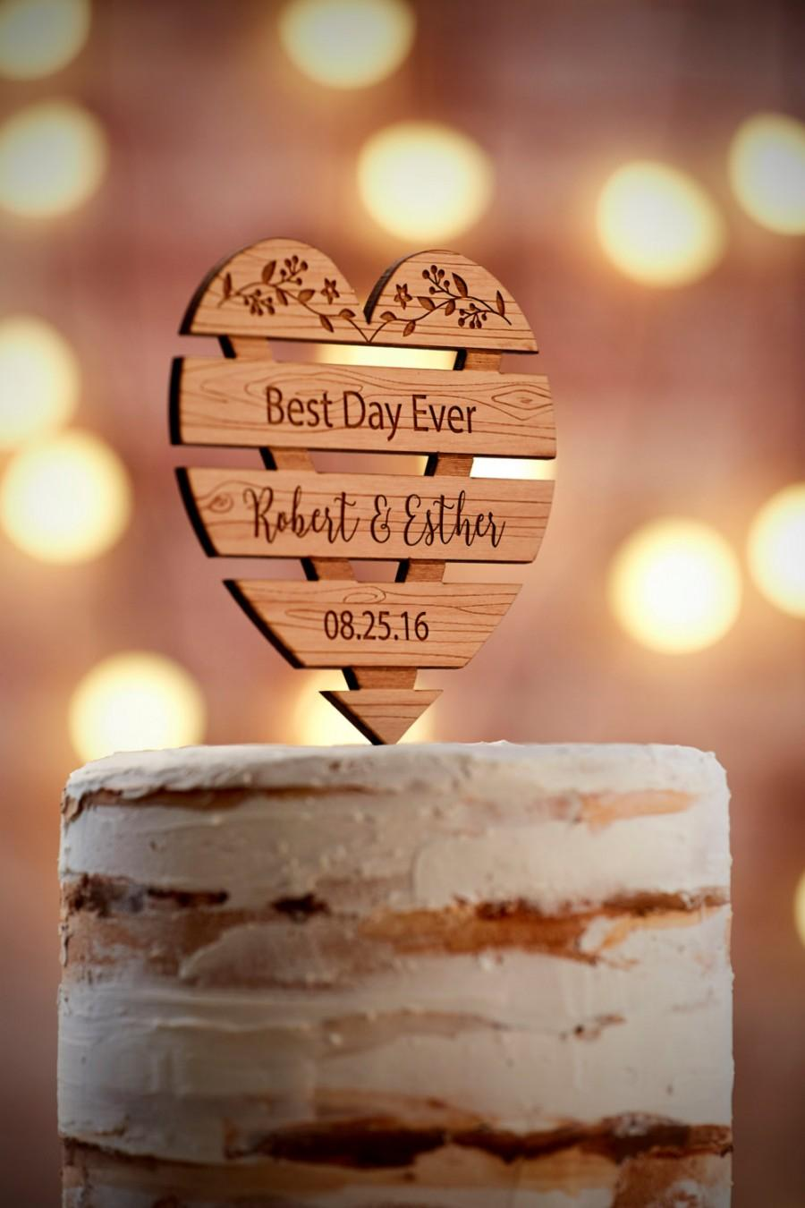 Wedding - Personalized Wedding Cake Topper Rustic