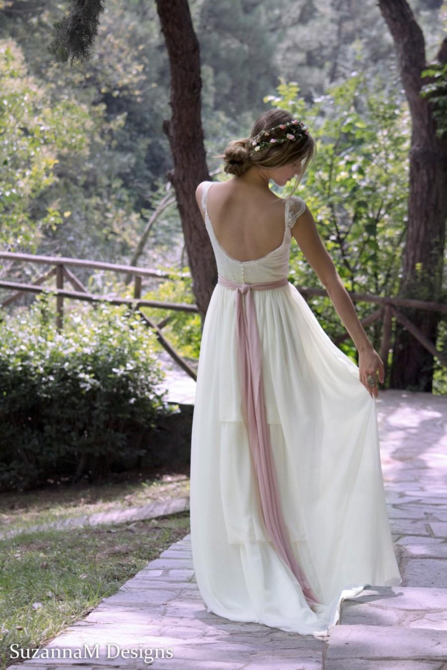 Wedding dress gypsy wedding dress long bridal gown boho for Unique bohemian wedding dresses
