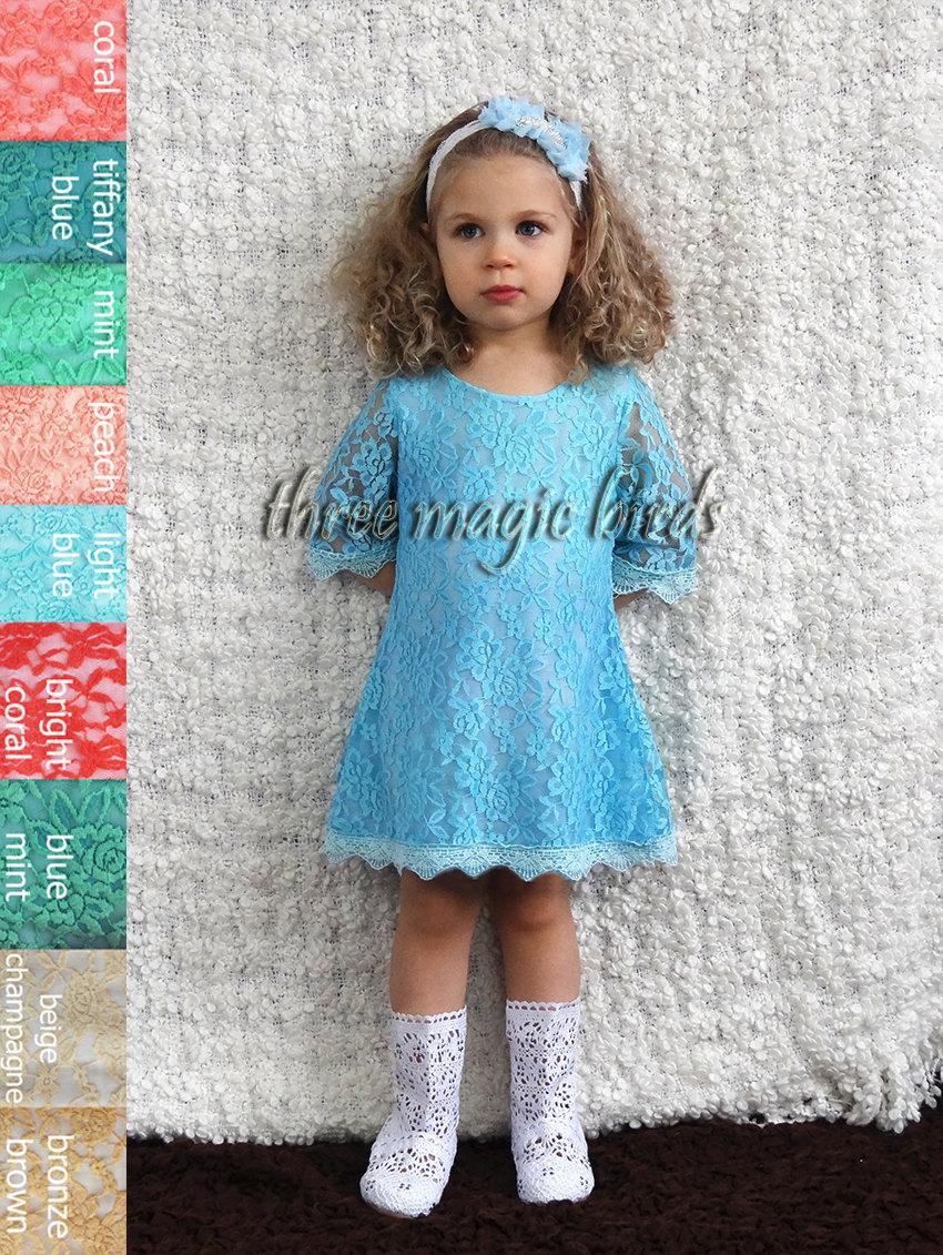 Свадьба - Sheer Lace Girl's Dress, Formal Pageant Dress, Blue Lace Dresses, Frozen Inspired Dress