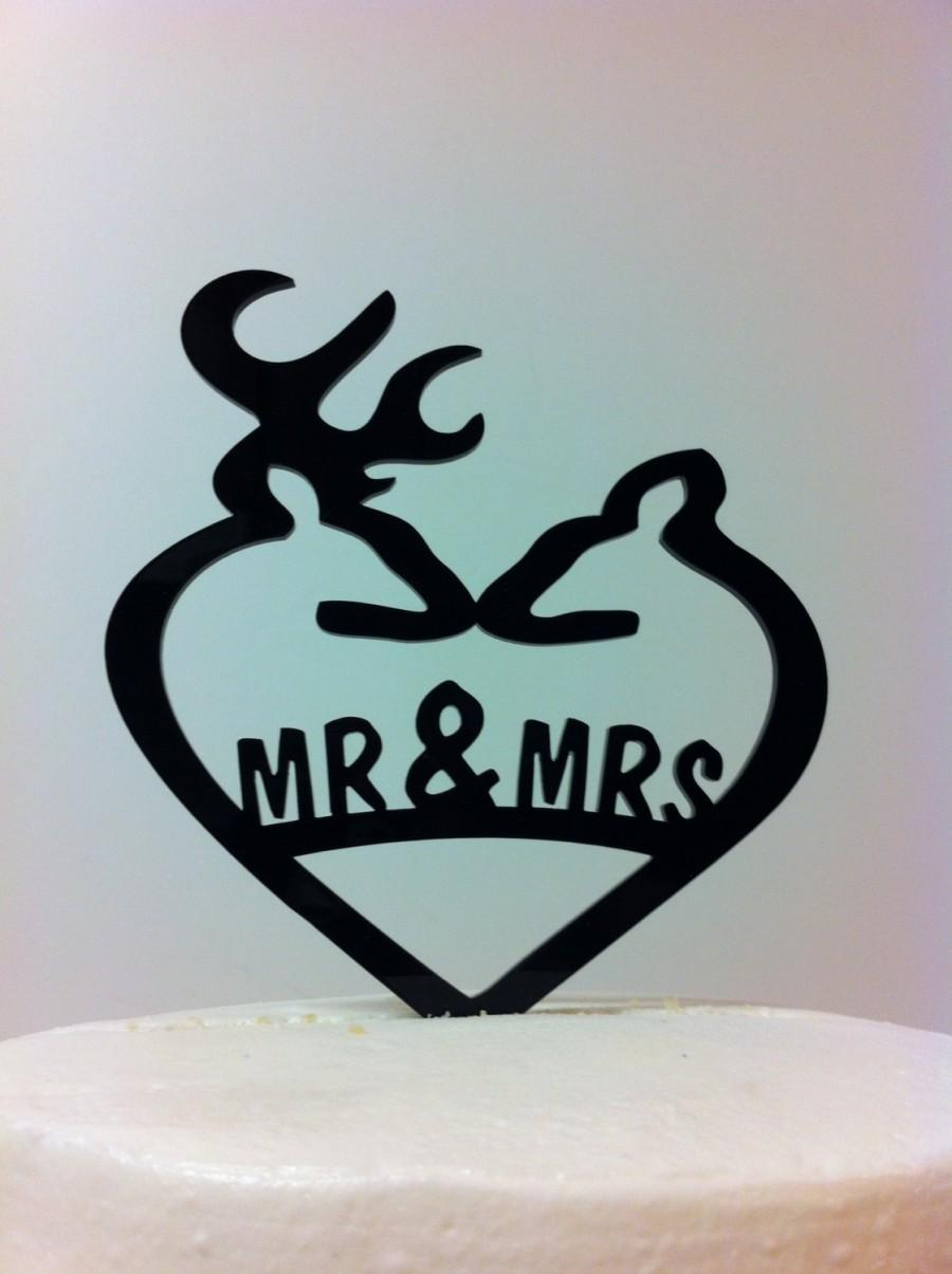 Свадьба - Silhouette Mr and Mrs Deer Wedding Topper, Country Heart Mr & Mrs Doe and Buck Deer Wedding Cake Topper. MADE In USA…..Ships from USA