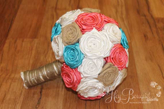 Coral And Turquoise Wedding Bouquet, Burlap Bouquet, Rustic Wedding ...