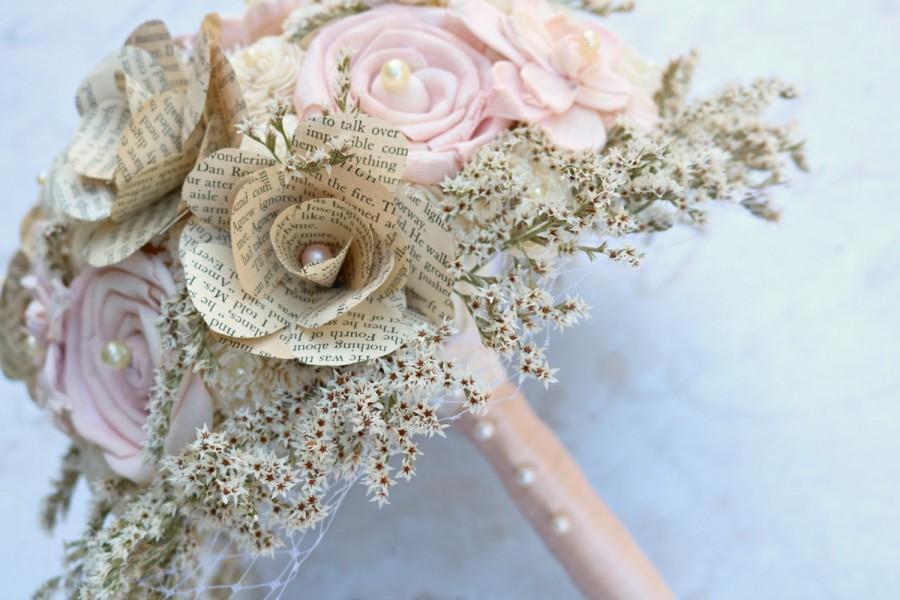 Vintage Romantic Bouquet, Pink, Book Rose, Bridal Bouquet, Wedding ...