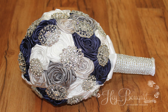 Navy Brooch Bouquet Navy Silver Gray White Brooch Bouquet