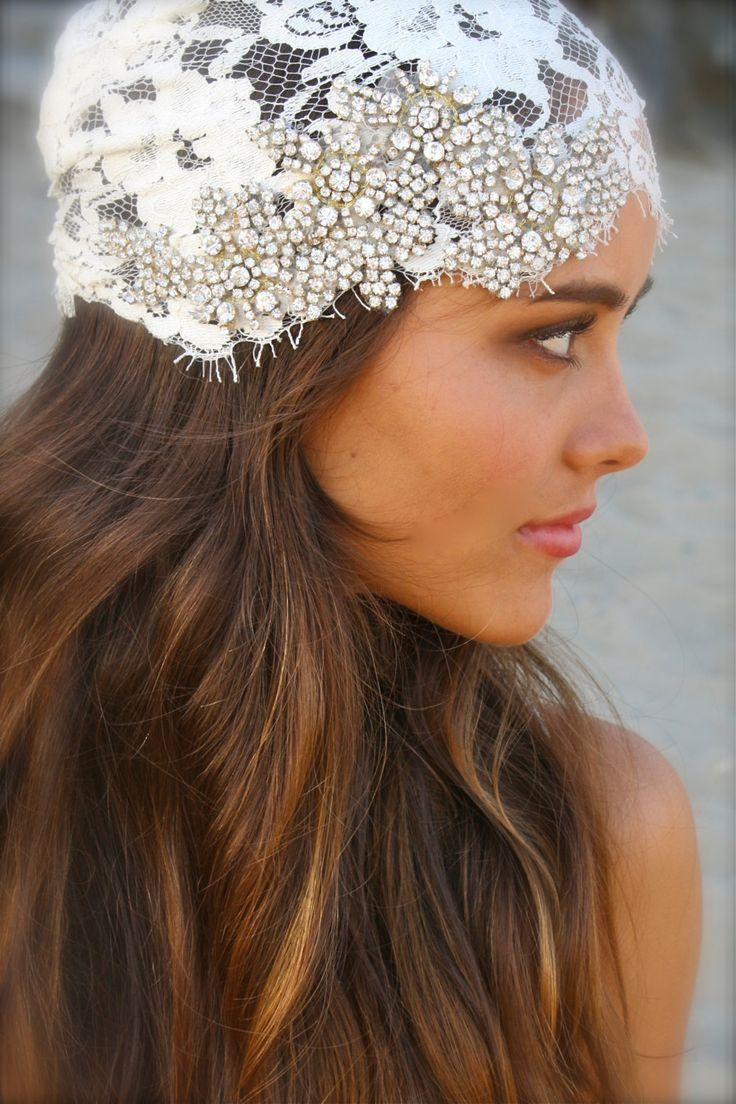 Свадьба - Lace And Crystal Bridal Cap- Angie