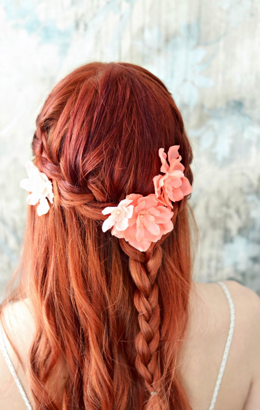 Bridal Flower Clips Salmon Pink Floral Pins Flower Hair Pins