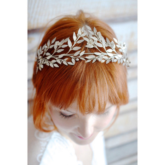 Hochzeit - Myrtle Tiara and Corsage Antique  1878, 800 Silver Crown and matching Lapel Pin, German Wedding Headdress, Collectors Piece
