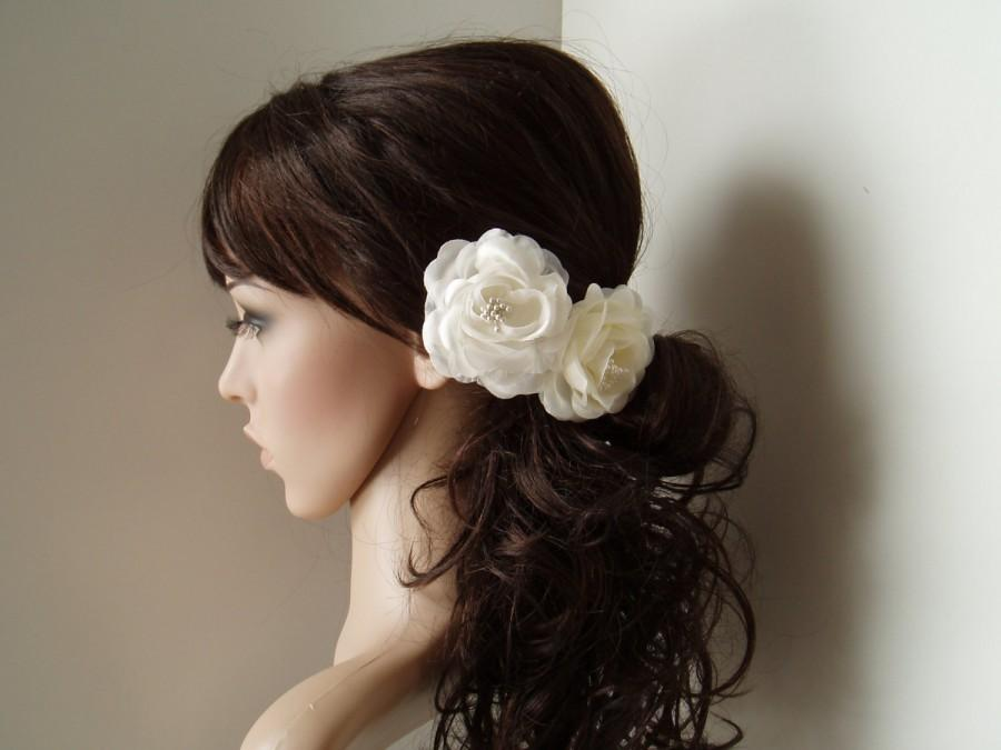 Hochzeit - Wedding hair piece Vintage Wedding Hair Flower Bridesmaids Hair Piece Flower Girl Head Piece