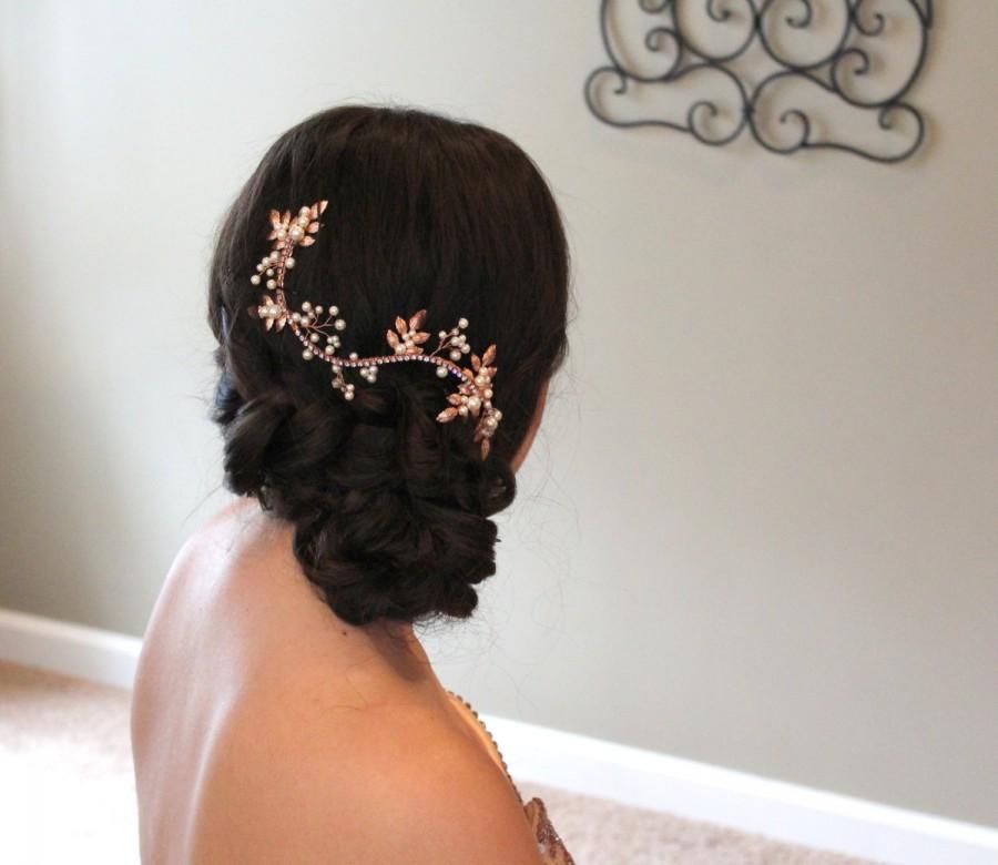 Свадьба - Rose Gold hair vine, Rose Gold Wedding headpiece, Bridal hair vine, Bridal hair piece, Wedding hair accessories, Pearl hair vine, Leaf vine