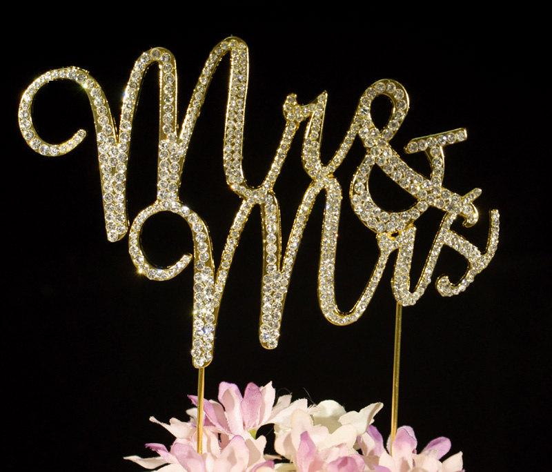 Mr Mrs Wedding Cake Toppers Crystal Bling Cake Topper Cake