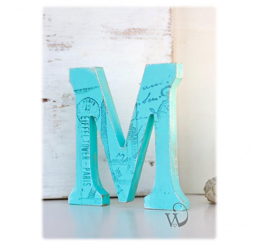 Wedding - Decorative Wooden Letter: Stand Alone Baby Nursery letter M - Decorative wall letter - Cake Topper Letter - Wedding Reception Decor Ideas