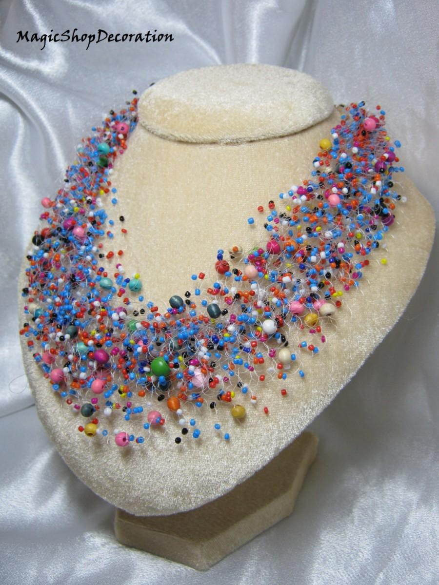Multicolor Beaded Necklace Jewelry Handmade Jewellery Wedding Bridal Gift For Her Statement Bridesmaid Necklaces Crochet Bib Unique