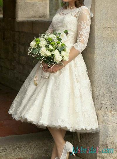 Wedding - H1558 1950s Retro tea length ivory lace sleeved wedding dress