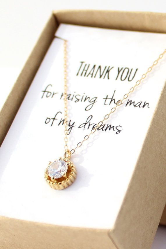Свадьба - Mother Of The Groom Gift - Gold Solitaire Necklace- Cubic Zirconia Necklace-Mother In Law Gift-Thank You For Raising The Man Of My Dreams-S1