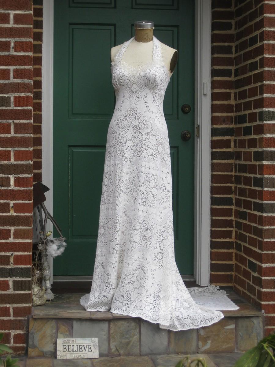 Mariage - Custom Made Lace Halter One of a Kind made from upcycled vintage table cloth