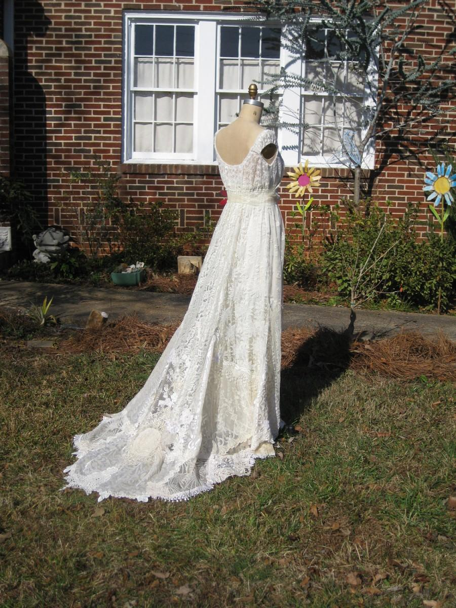 Ivory Champagne Hippie Lace Collage Wedding Gown One Of A KIND Made ...