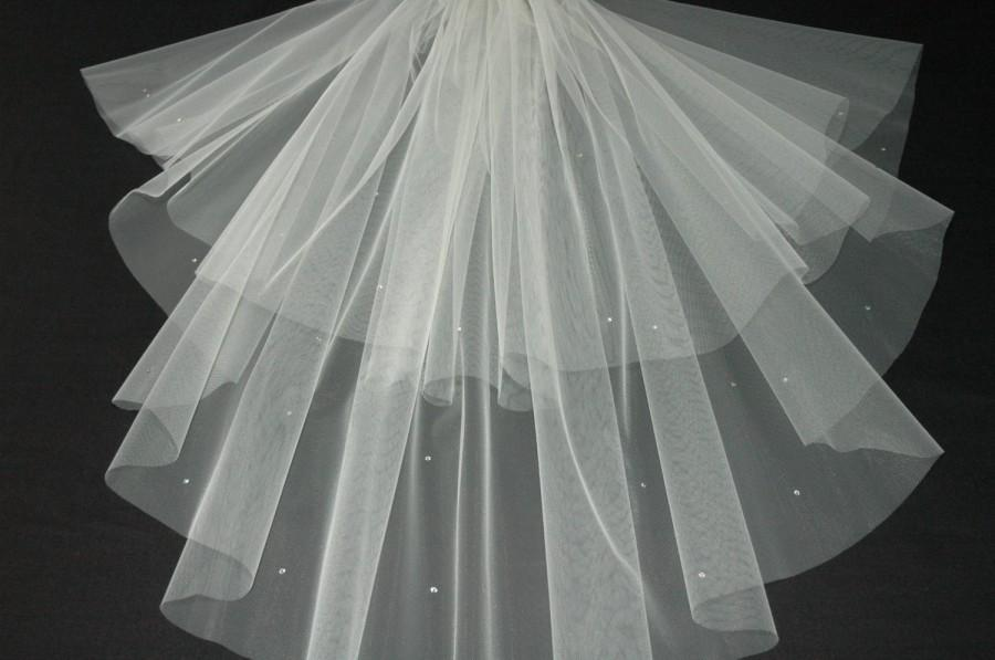 Wedding - Designer Cream Wedding Veil Any Length Crystal Diamante All Over LBV151 LBVeils UK