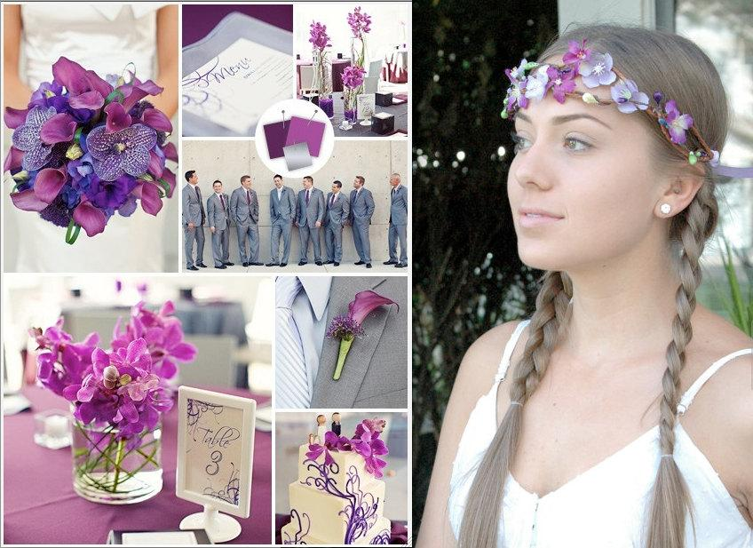 Hochzeit - Purple hair crown Lavender wisteria Flower Hair wreath Boho Bride hair crown Flower Girl circlet Bridal halo nature Rustic Wedding headpiece