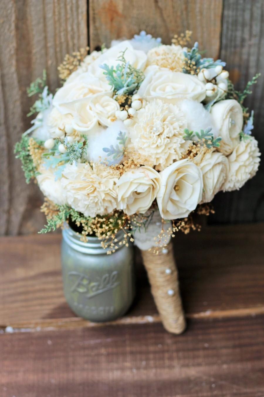 Sola Bouquet Wedding Rustic Bridal Country