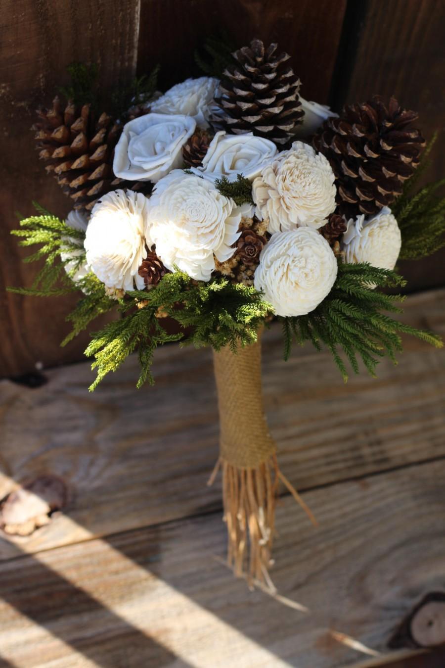 Свадьба - Winter Bouquet, Fall Bouquet, Sola Bouquet, rustic wedding, wedding bouquet, pine cone bouquet
