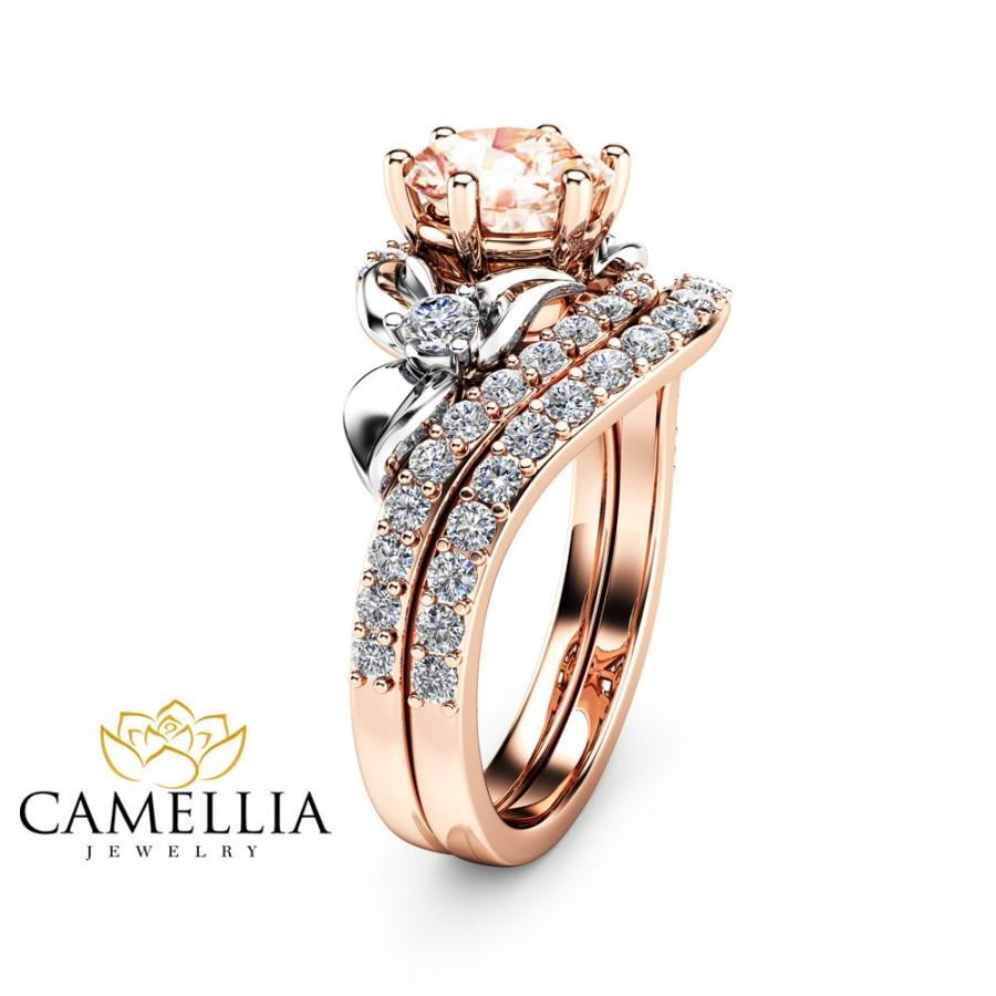 Morganite Unique Engagement Ring Set 14K Two Tone Gold ...