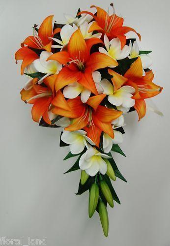 Latex white frangipani tiger lily orange bride wedding bouquet latex white frangipani tiger lily orange bride wedding bouquet teardrop flower mightylinksfo