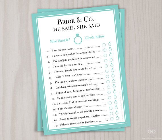 Bride Co He Said She Game Bridal Shower Printable Robins Egg Blue Wedding Couples And Match Quote