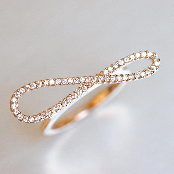 زفاف - Pave Rose Gold Infinity Promise Ring Sterling Silver